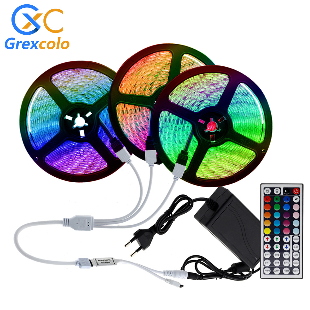5m 10m 15m LED Strip Light RGB Flexible Ribbon Fita Light Strip SMD 5050 2835 DC12V Neon LED Diode Tape+Remote Control+Adapter