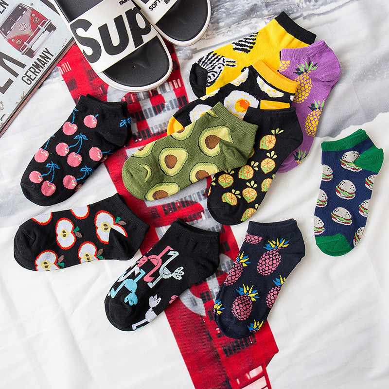 Fashion Fruit Animal Spring Summer Cotton Short Women Socks Avocado Flamingo Food Print Harajuku Cute Funny Socks Female Meias