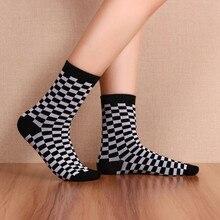 Corée Funky Harajuku tendance femmes damier chaussettes géométrique à carreaux hommes unisexe Hip Hop coton Streetwear nouveauté chaussette
