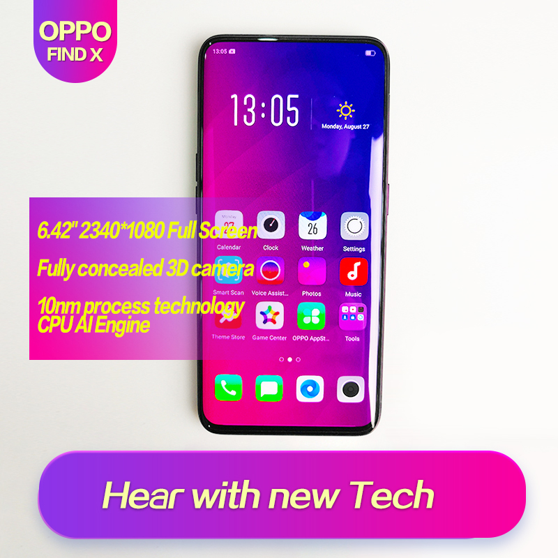 OPPO Find X Global ROM Full Screen 6.42inch Smart phone 3cameras 2340*1080 Octa Core Qualcomm SDM845 3730mAh 2340*1080 Face ID