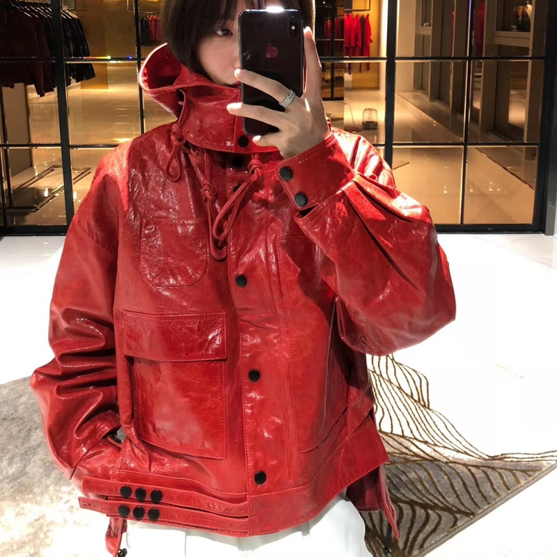 Woman Coats Natural 100% Sheepskin 2019 Fashion Real Sheepskin Leather Coat Female Windbreaker Hooded Cap Various Colours
