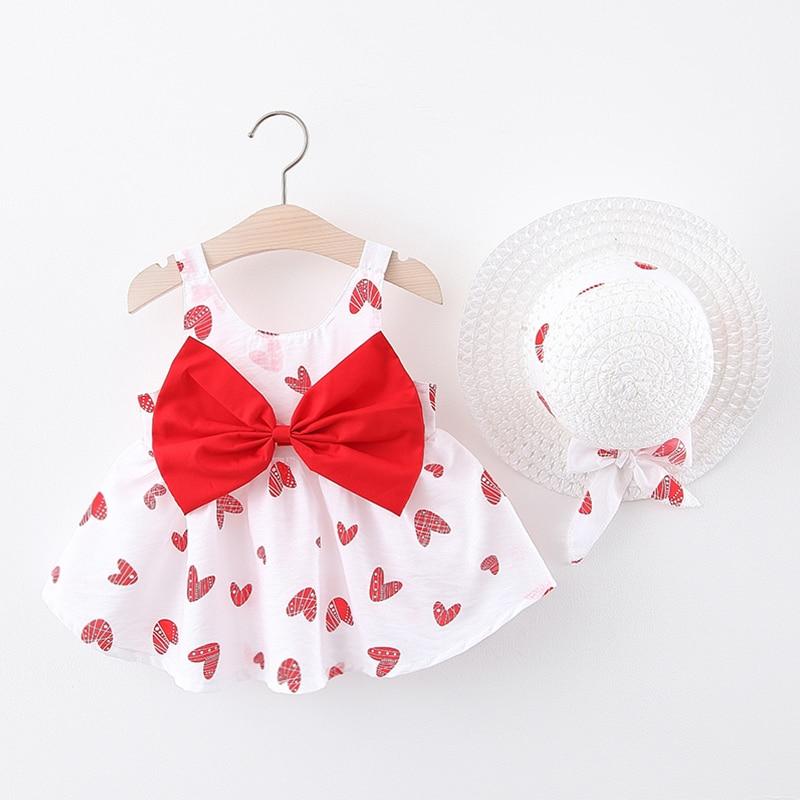 Baby Dress Summer Print Heart Girl Dress Bow Hat 2 Piece Baby Clothes Set Newborn Dress Infant Toddler Beach Dress Baby Clothes