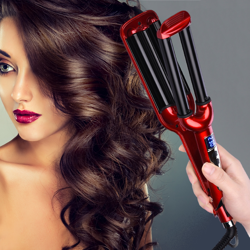 16 Mm Hair Curler Wave Lcd Ceramic Hair Curling Iron 3 Barrel Clamp Curler Style Curling Tongs Modelling Tools Dropshipping Special Price B5d9bd Cicig