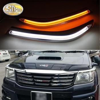 SNCN 2PCS Car Headlight Eyebrow Decoration Yellow Turn Signal Relay LED Daytime Running Light For Toyota Hilux Vigo 2012 - 2014