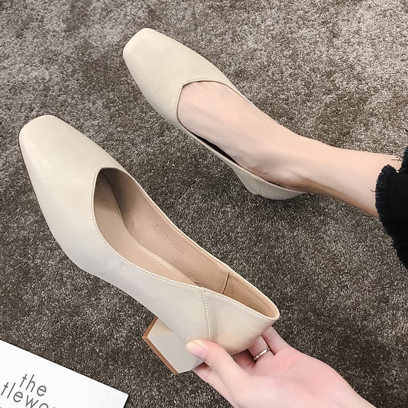 EOEODOIT Med Heel Soft Leather Shoes Women Square Toe Pumps Slip On Square Heel Daily Work All Match Cozy Female Shoes