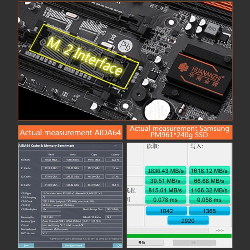 Huananzhi X79-8D Motherboard Intel Dual CPU LGA 2011 E5 2689 2670 V2 DDR3 1333/1600/1866MHz 256GB M.2 NVME SATA3 USB3.0 E-ATX