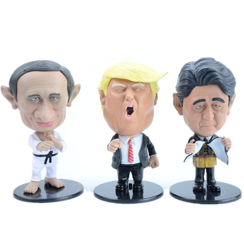 Funny Putin Trump Shinzo Abe Meeting Scene PVC Action Figure Collectible Model Hot Toy For Child Birthday GIFT