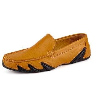 Image 3 - Без шнуровки на осень; Повседневная мужская кожаная обувь, мокасины Homme женская обувь на плоской подошве женские лоферы без застежки; Женские туфли лодочки с вождения мокасины 2020 Новинка; Лидер продаж по доступной цене