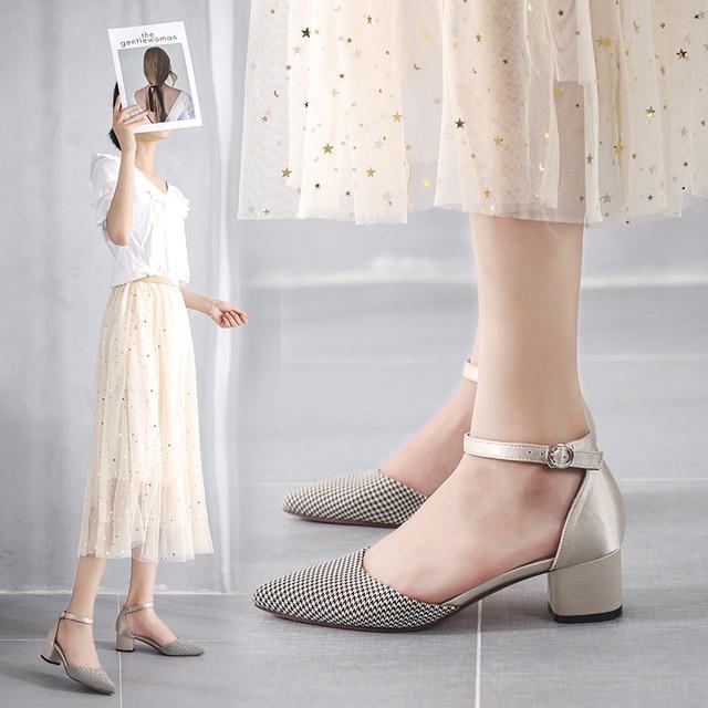 % 2020 balıksırtı ayakkabı kadın artı boyutu pamuklu bez kare yüksek topuk parti düğün zarif sivri burun ayak bileği kayışı kadın topuklu