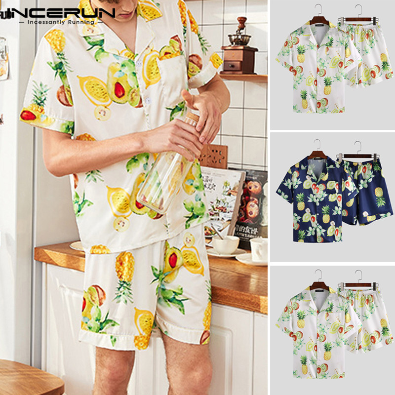 INCERUN Summer Fashion Men Sleepwear Sets Silk Satin Fruit Printed Pajamas Sets Casual Short Sleeve Tops & Shorts Homewear S-5XL