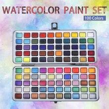 Professionelle 100 Farbe Tragbare Feste Aquarell Farben Set Grundlegende Neone Glitter Aquarell Farbe für Zeichnung Kunst Farbe Lieferungen