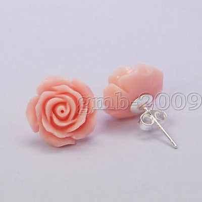 ใหม่สวย 12 มม.Corl สีชมพู Rose ดอกไม้ 925 Silver STUD ต่างหู
