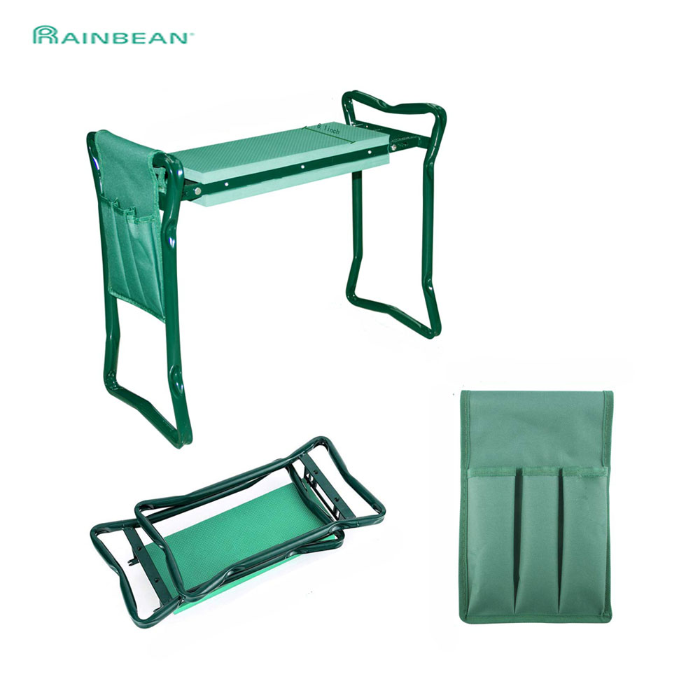 Folding Garden Chair Kneeler And Seat With1 Bonus Tool Stainless Steel Garden Stool With EVA Kneeling Pad Bearing 150KG