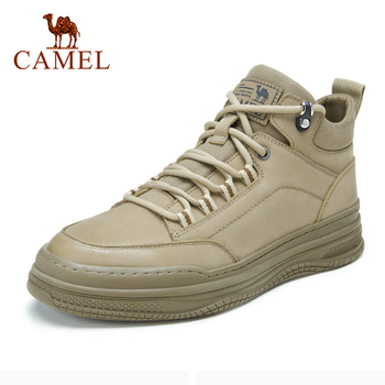 CAMEL 2020 Autumn New High-top Sneakers Men Genuine Leather Casual Tooling Shoes Grey Khaki Comfortable Fashion Men Shoes genuine leather top quality men leather shoes autumn lace up men s casual shoes outdoorluxury leisure men sneakers shoes