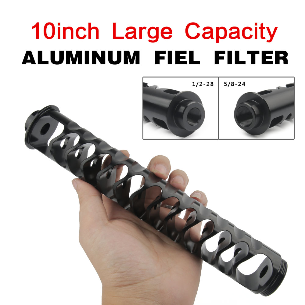 10 pulgadas extensión espiral 1/2-28 aleación filtro de combustible de núcleo único para NaPa 4003 WIX 24003 solvente motocicleta