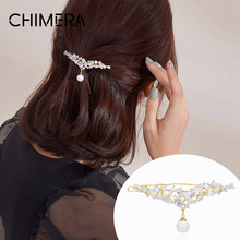 CHIMERA Pearl Hair Clip Pendant Crystal Wedding Hair Accessories for Women Elegant Barrette Fashion Hair Pin Hairgrips Jewelry chimera pearl hair claw large clip cloth flower crystal jaw hair crab clamp women acrylic hairgrip barrette vintage hair jewelry