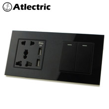 Atlectric Universal Plug Wall Power Socket ON/OFF Push Button Light Switch Lamp Light Glass Panel Double Socket Electrical Outlet(China)
