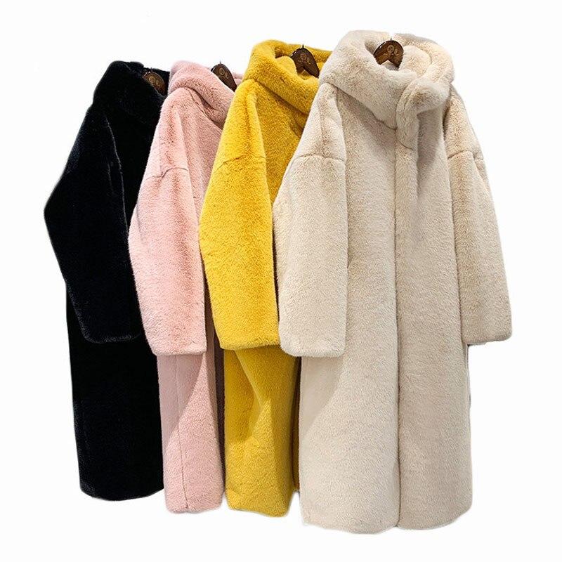 ZADORIN 2019 Winter New Luxury X- Long Faux Mink Fur Coat Women Furry Warm Fur Hoodie Loose Pink Black Fur Jacket Coats Female