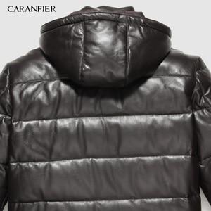 Image 4 - CARANFIER 新 2019 ジャケット男性本革ダウンジャケット冬のアウターシープスキンのコートのオーバーコート