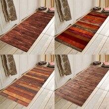 Brown wood bars Flannery printing Anti-Slip absorbent home mat