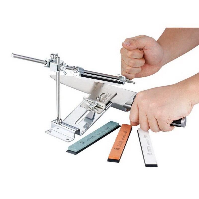Pro Knife Sharpener System Reversal Knife Clip 360 Degree Rotating Improved Cross Slider With Diamond Whetstone