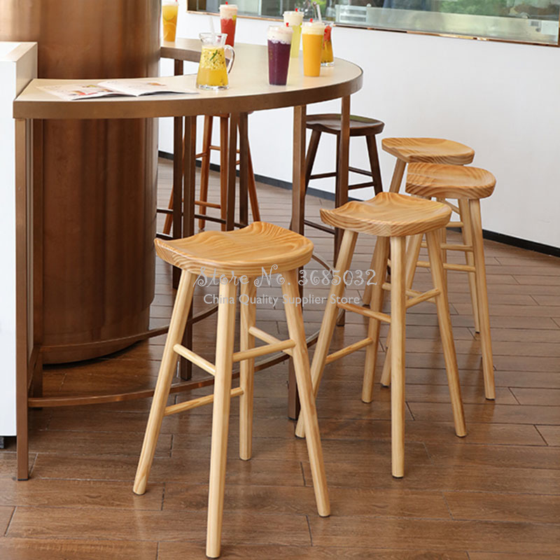 2019 Solid Wood Nordic Bar Stool Modern Minimalist Bar Chair Home Creative Bar Chairs Fashion High Stool Barstools