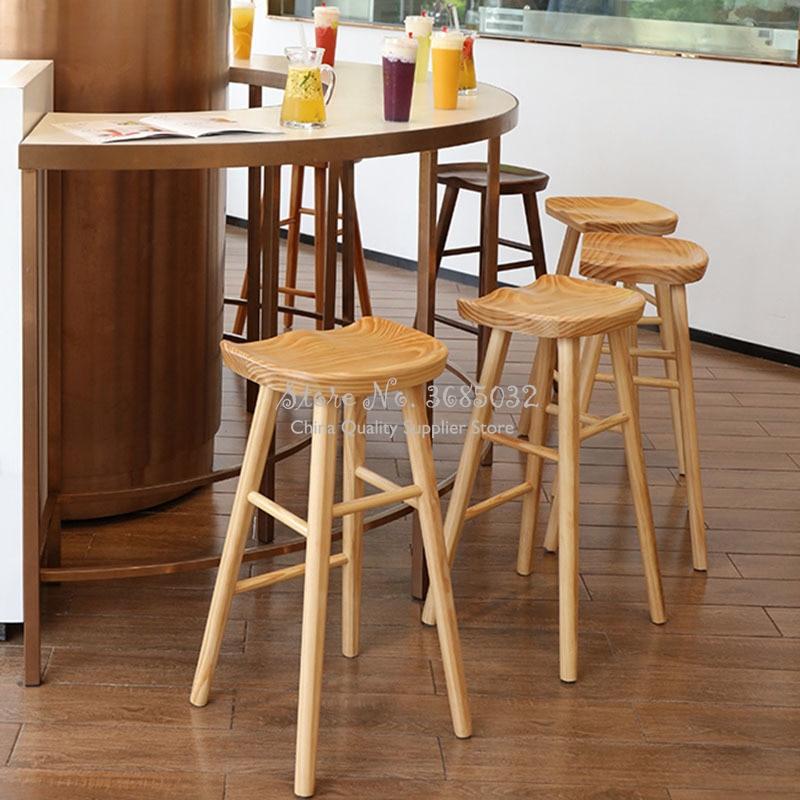2019 Solid Wood Nordic Bar Stool Modern Minimalist Bar Chair Home Creative Bar Chairs Fashion High Stool Barstools