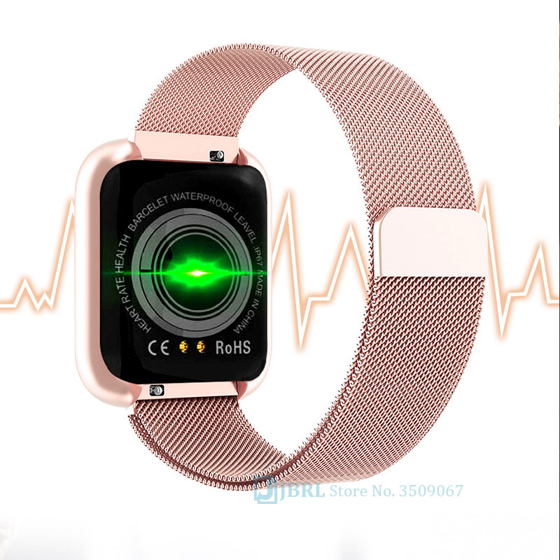 Fashion Stainless Steel Smart Watch Women Men Electronics Sport Wrist Watch For Android IOS Square Smartwatch Smart Clock Hours 2
