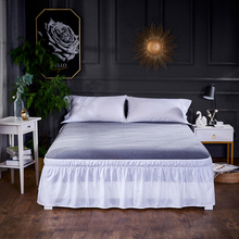 Ruffle Split Corner Bedding Skirt Elastic Solid Dust Bed Wrap Around Drop Home Decor Twin Full Queen King D30