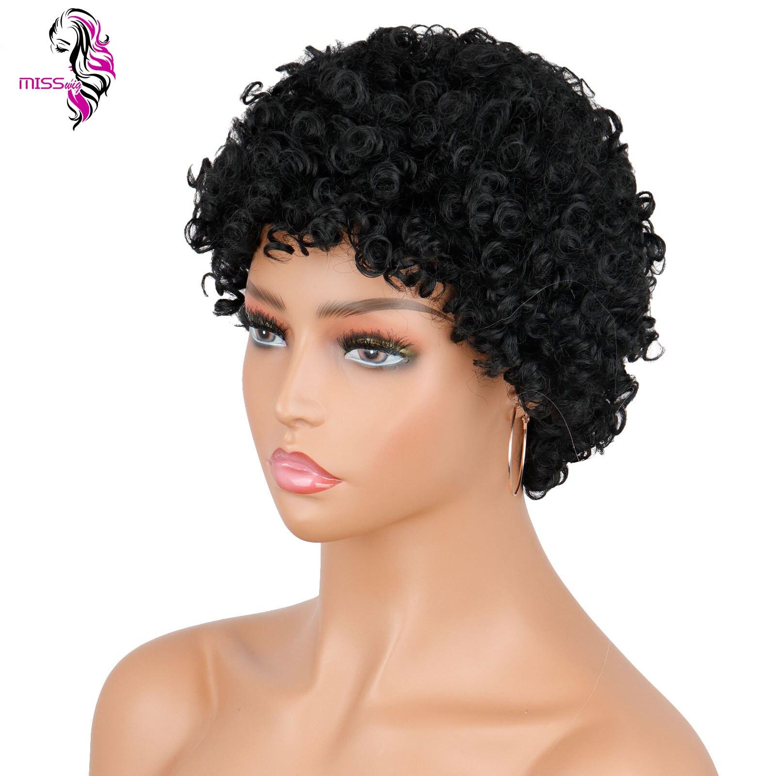 Miss peruca 4 polegada preto sintético peruca fluffy peruca curta encaracolado adequado para mulheres africanas para usar perucas diárias
