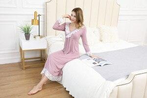 Image 3 - Kobieca odzież do snu wiosenna i jesienna koszula nocna z długim rękawem modalna koronkowa koszula nocna z dekoltem w serek elegancka księżniczka długa spódnica do spania