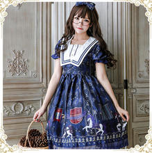 Summer Japanese lolita cute princess daily dress Knight white horse Dark Blue & Red