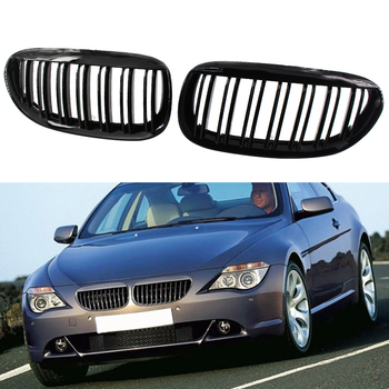 2PCS Front Gloss Black Dual Slat Bumper Kidney Grille Grill For BMW E63/E64 M6 630i 640i 650i 645ci Etc 2003- 2013 Car Access image