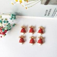 10pcs Christmas Series Alloy Enamel Charms Antler Mushroom Pendants Floatings Earrings Bracelets DIY Jewelry Accessory FX157