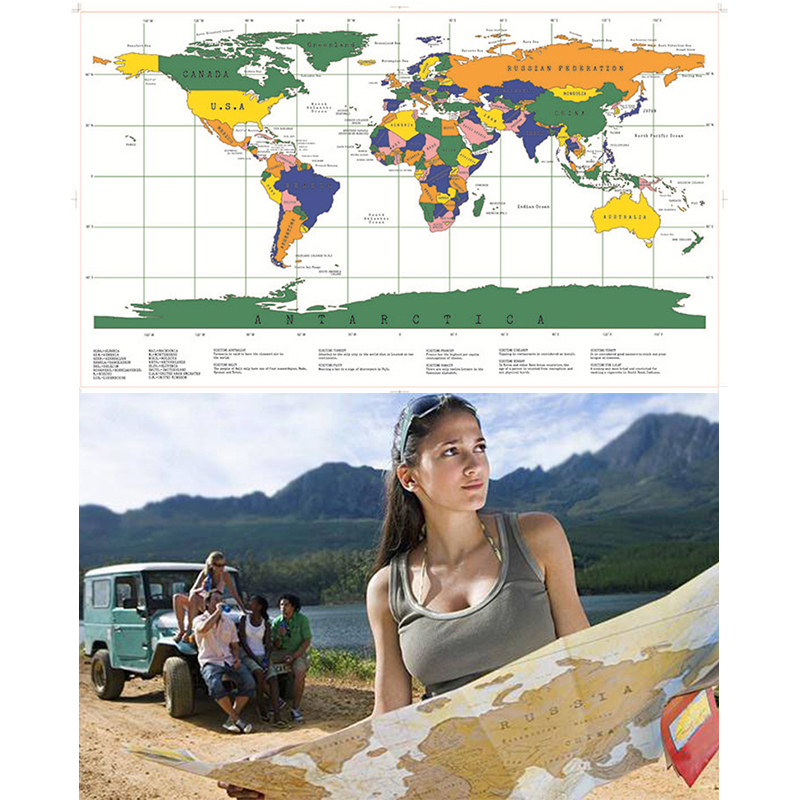 1Piece Deluxe White Scratch Off World Map 88x 52cm White Map Scratch With Cylinder Packing Room Decoration Wall Stickers