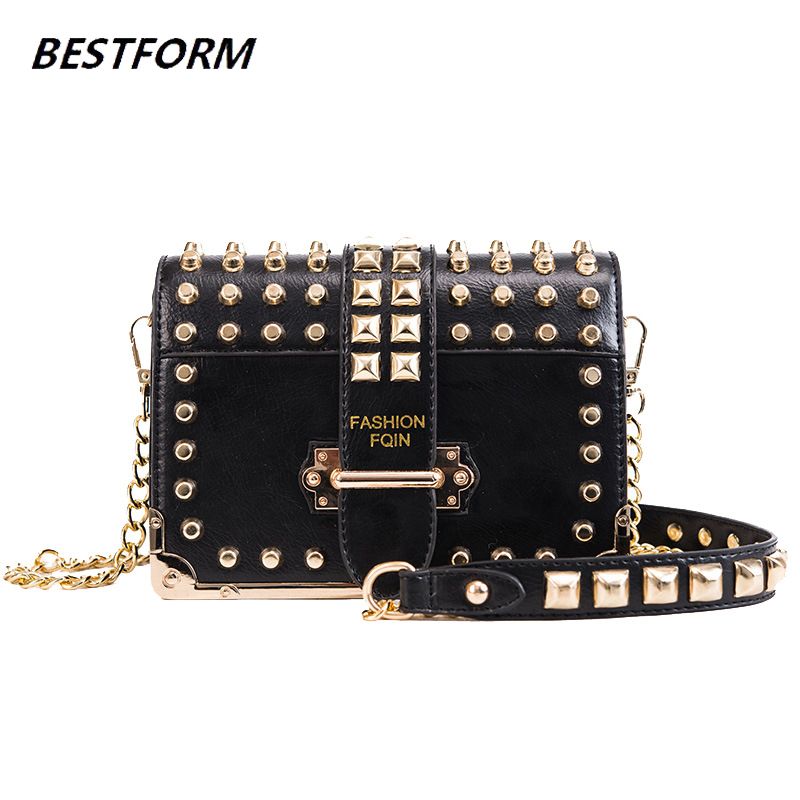 Vintage Shoulder Bags For Women 2019 Rivet Evening Clutch Bags Small Leather Crossbody Bag For Women Messenger Flap Ladies Tote