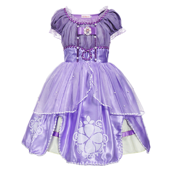 Princess Sofia Dress for Girl Kids Cosplay Costume Puff Sleeve Layerd Dresses Child Party Birthday Sophia Fancy Costumes