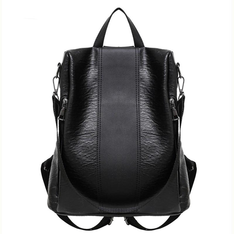 Backpacks Women 2019 Fashion Pu Leather Bags For Women Big  Black Backpack For Girls Shoulder Bag Knapsacks