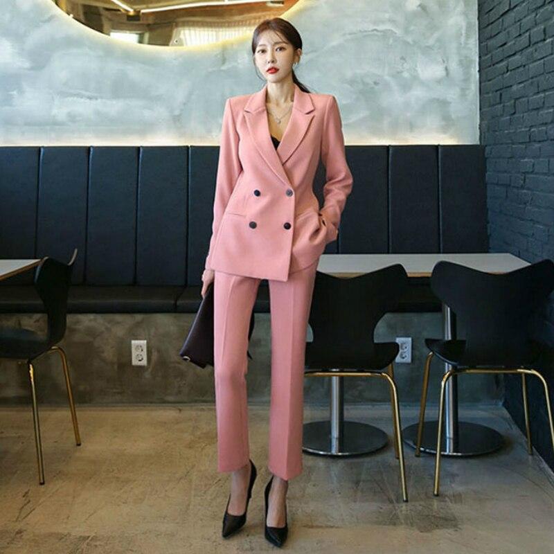 Fashion Work Business Pants Suit for Women Single Breasted Blazer Jacket and Pant 2 Piece Set Elegant Female Office Uniform 2020