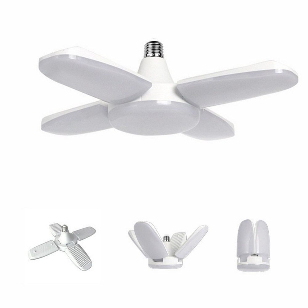E27 LED Garage Light Foldable Super Bright Bulb 6500K LED Ceiling Lamp 4 Adjustable Fan Blades Home Energy Saving Lighting Tools
