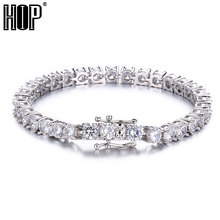 Hip Hop 1 Row 4/5/6MM Bling Iced Out Mens Zircon Tennis Chain Stainess Steel Bracelet Men CZ Link Chain For Men Jewelry недорого