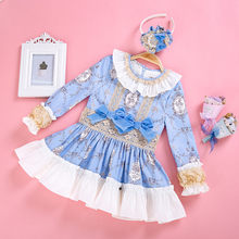 Cutestyles Princess Girls Dress New Blue Flower LacaDress Solid with Bowtie Boutique Spring/Autumn Children Wear G-DMGD008-A156(Hong Kong,China)