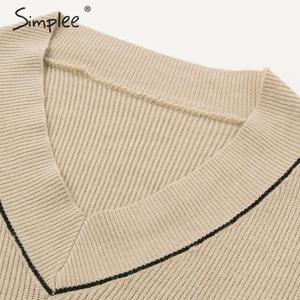 Image 5 - Simplee vestido plisado elegante de dos piezas para mujer, vestido de punto con cuello de pico, suéter de otoño para mujer, vestidos sueltos de oficina para mujer, vestidos de invierno