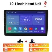 Ossuret 10.1 Polegada android 9.0 quad core 1 + 16g carro multimídia jogador estéreo do carro 2din bluetooth wifi gps nav rádio jogador de vídeo bt