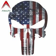 Aliauto светоотражающие автомобильные наклейки Каратель Американский США Снайпер цветной флаг аксессуары в форме черепа Водонепроницаемая Наклейка ПВХ для Kia, 13 см* 9 см