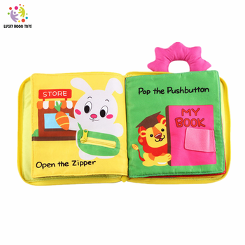 12 Pages Educational Baby Toys Hot Infant Kids Early Development Cloth Books Cartoon Animal Learning Unfolding Activity Books baby toys infant baby book early development cloth books for kids learning education activity quite books animal tails dinosaur