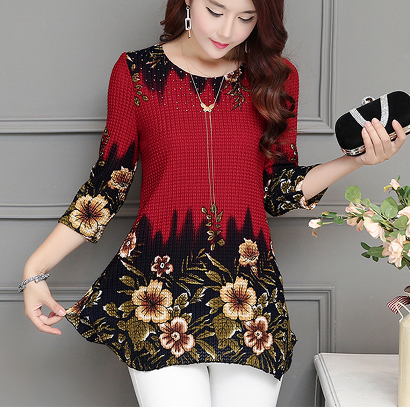 Women Tops 2020 New Blouse shirt Plus size 4XL Casual Blue Red Women's Clothing O-neck floral Print Feminine Tops blusas 993D Women Women's Blouses Women's Clothings cb5feb1b7314637725a2e7: Blue|Red