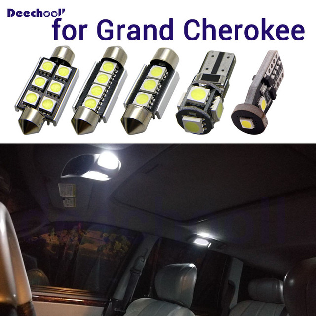 Canbus White Interior Lights+License Plate Lamp Bulbs for Jeep Grand Cherokee 1998 2017 WJ WK MK1 MK2  LED Map Dome Light