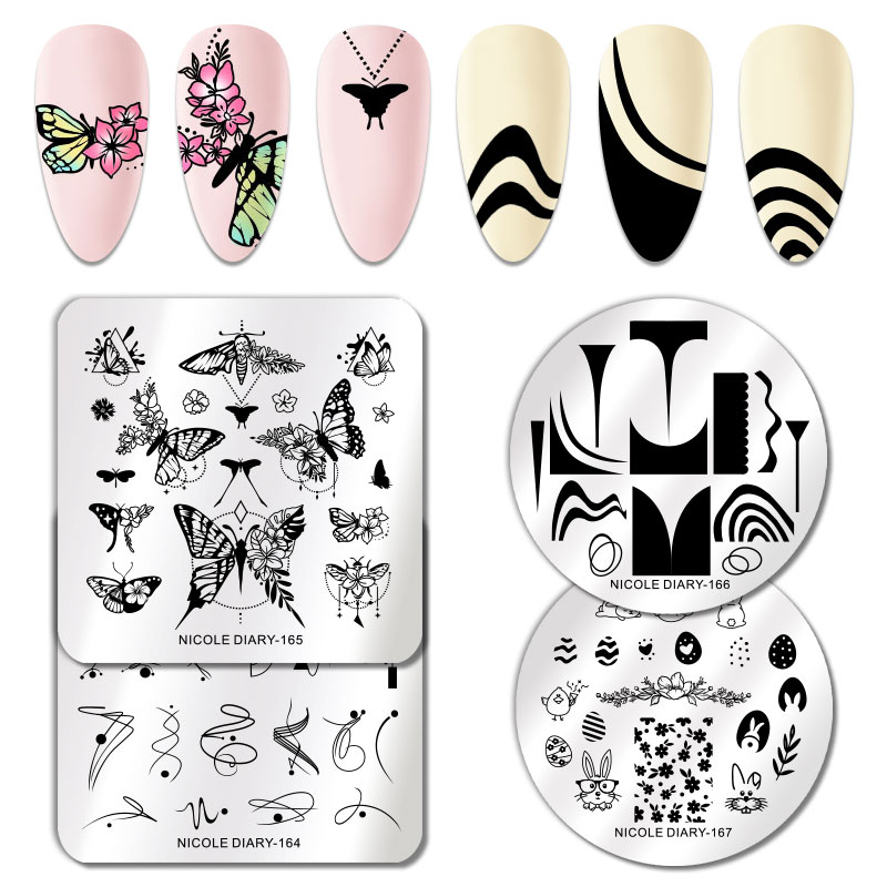 NICOLE DIARY Snake Marble Flower Nail Stamping Plates Image Stamp Templates Geometric Butterfly Printing Stencil Tools