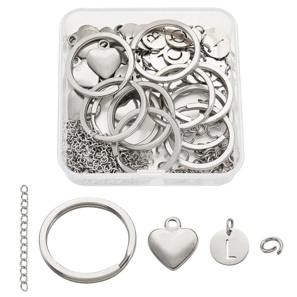 Ensemble de bricolage avec breloques en acier plat rond avec Alphabet fendu porte-clés anneaux de saut et extrémités en acier chaînes d'extension 12x1mm, trou: 2.5mm